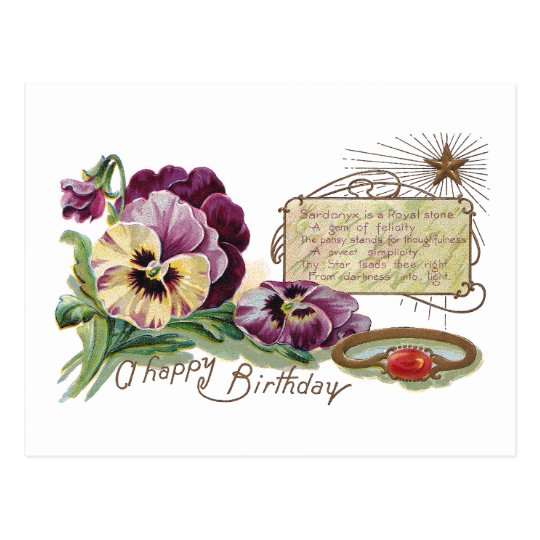 August Birthday Pansies and Sardonyx Ring Postcard