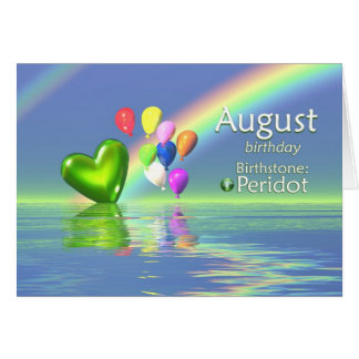 August Birthday Peridot Heart Card