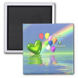 August Birthday Peridot Heart 2 Inch Square Magnet