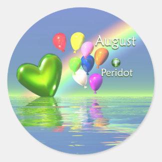 August Birthday Peridot Heart Stickers
