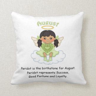 August Birthstone Angel Black Throw Pillow
