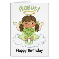 August Birthstone Angel Brunette Birthday Card