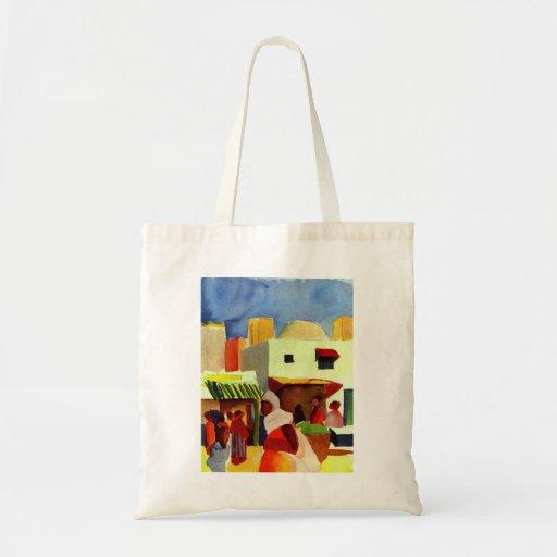 August_Macke - Algier Market 1914 Canvas Canvas Bag