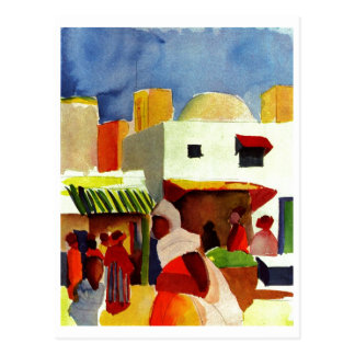 August_Macke - Algier Market 1914 Canvas Postcard