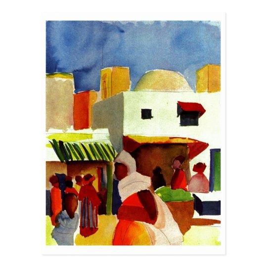 August_Macke - Algier Market 1914 Canvas Postcard