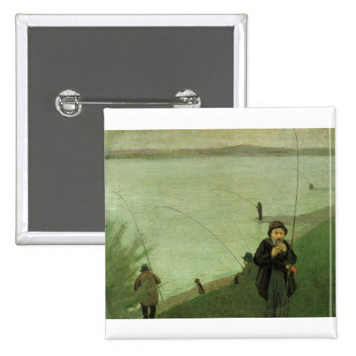 August_Macke - Angler on Rhein - 1907 Fisher River Pinback Buttons