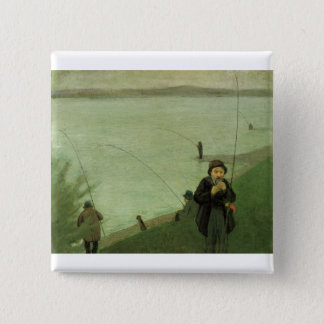 August_Macke - Angler on Rhein - 1907 Fisher River Pinback Button