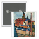 August Macke - Bonn Houses and Chimney 1911 Oil 2 Inch Square Button