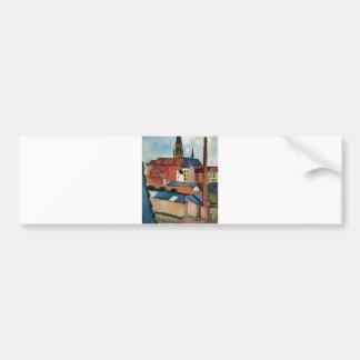 August Macke - Bonn Houses and Chimney 1911 Oil Bumper Sticker