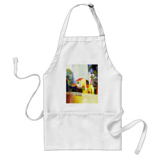 August Macke Bright House Watercolor Painting Adult Apron