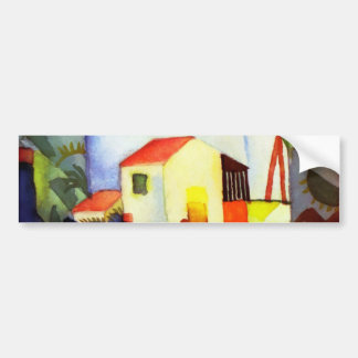 August Macke Bright House Watercolor Painting Bumper Sticker