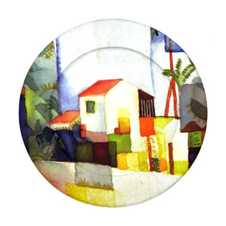 August Macke Bright House Watercolor Painting Button Covers