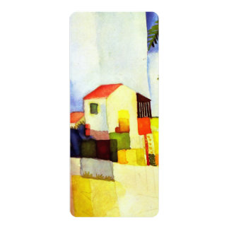 August Macke Bright House Watercolor Painting Card