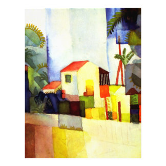 August Macke Bright House Watercolor Painting Flyer