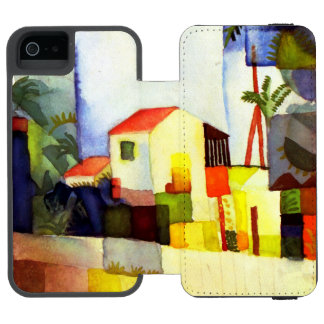 August Macke Bright House Watercolor Painting iPhone SE/5/5s Wallet Case
