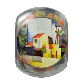 August Macke Bright House Watercolor Painting Jelly Belly Candy Jar