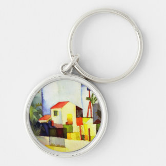 August Macke Bright House Watercolor Painting Keychain