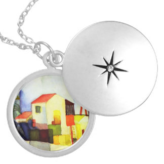 August Macke Bright House Watercolor Painting Locket Necklace