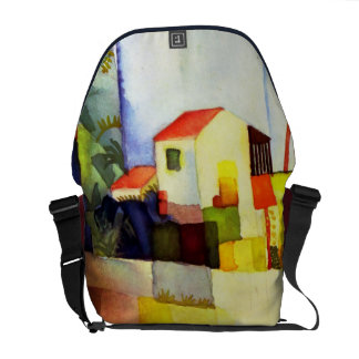 August Macke Bright House Watercolor Painting Messenger Bag