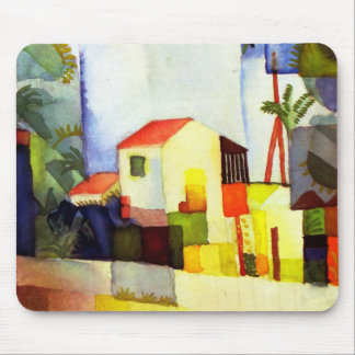 August Macke Bright House Watercolor Painting Mouse Pad