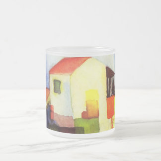 August Macke Bright House Watercolor Painting 10 Oz Frosted Glass Coffee Mug