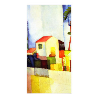 August Macke Bright House Watercolor Painting Photo Card