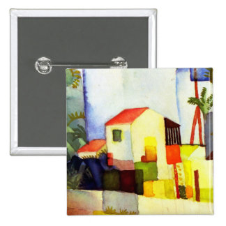 August Macke Bright House Watercolor Painting Pinback Button