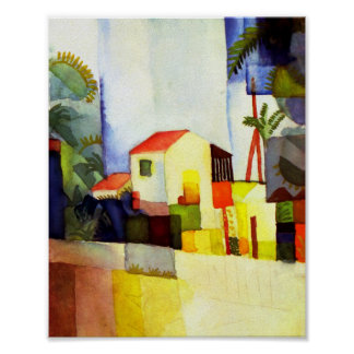 August Macke Bright House Watercolor Painting Poster