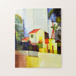 August Macke Bright House Watercolor Painting Puzzle