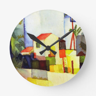 August Macke Bright House Watercolor Painting Round Wallclock