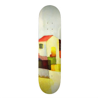 August Macke Bright House Watercolor Painting Skateboard Deck