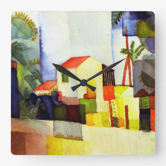 August Macke Bright House Watercolor Painting Square Wall Clock