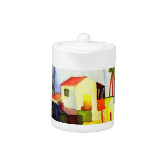 August Macke Bright House Watercolor Painting