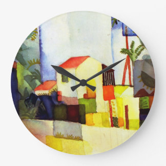August Macke Bright House Watercolor Painting Wallclock