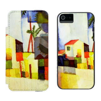 August Macke Bright House Watercolor Painting Wallet Case For iPhone SE/5/5s