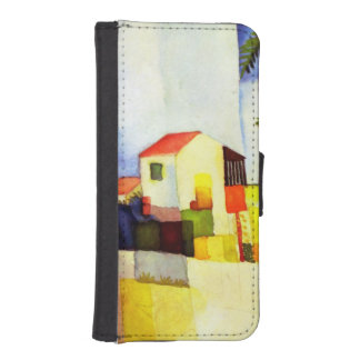 August Macke Bright House Watercolor Painting Wallet Phone Case For iPhone SE/5/5s