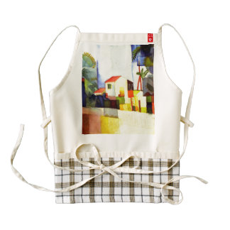 August Macke Bright House Watercolor Painting Zazzle HEART Apron