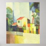 August Macke - casa brillante de Helles Haus 1914 Posters