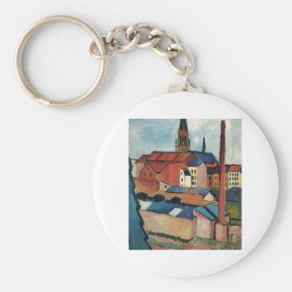 August Macke - casas de Bonn y aceite de la Llavero Redondo Tipo Pin