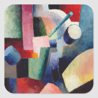 August Macke - Colored Composition of Forms Square Sticker
