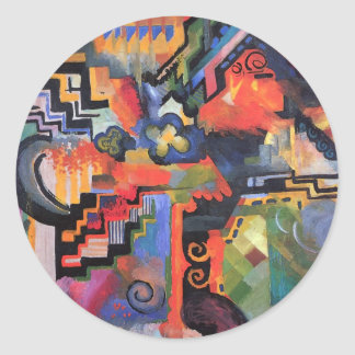 August Macke - Colored Composition Sticker