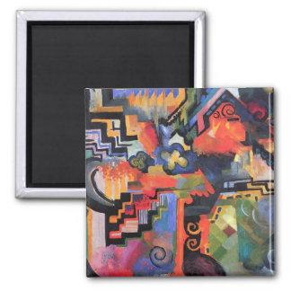 August Macke - composición coloreada Imán Cuadrado