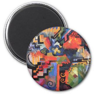 August Macke - composición coloreada Imán Redondo 5 Cm