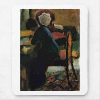 August Macke - Elizabeth at Desk 1909 Oil on Wood Mouse Pad
