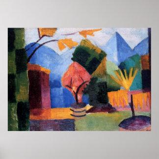 August Macke - Garden at Thuner Lake 1913 oil Poster
