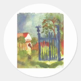 August Macke - Garden Gate 1914 Gartentor Round Sticker