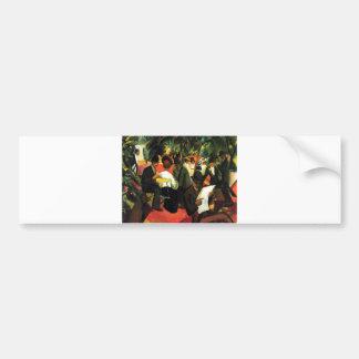 August_Macke - Garden Restaurant 1912 Oil Canvas Bumper Sticker