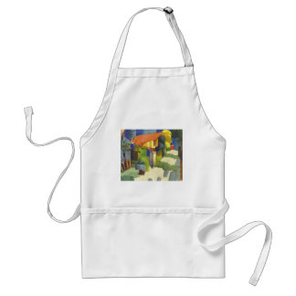 August Macke - House in Garden 1914 Waterolor Adult Apron