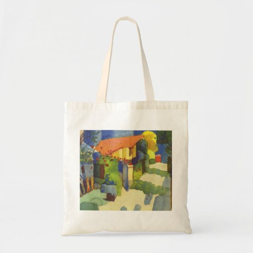 August Macke - House in Garden 1914 Waterolor Budget Tote Bag