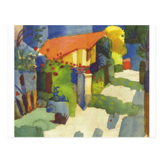 August Macke - House in Garden 1914 Waterolor Postcard